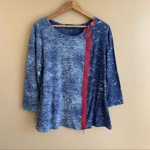 YUSHI Artsy Eclectic 3/4 Sleeve Top w/Faux Zip Buttons burnout